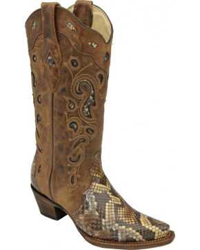 Corral Women's Python Inlay Western Boots, Brown, hi-res