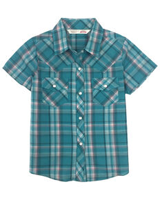 Cumberland Outfitters Toddler Girls' Turquoise Plaid Snap Short Sleeve Western Shirt, Turquoise, hi-res
