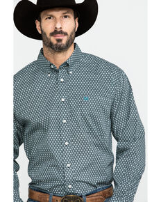 Cinch Men's Black Geo Print Button Long Sleeve Western Shirt - Big, Black, hi-res