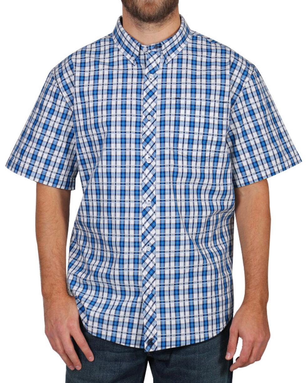 Cody James® Men's Button Down Plaid Short Sleeve Shirt , Turquoise, hi-res