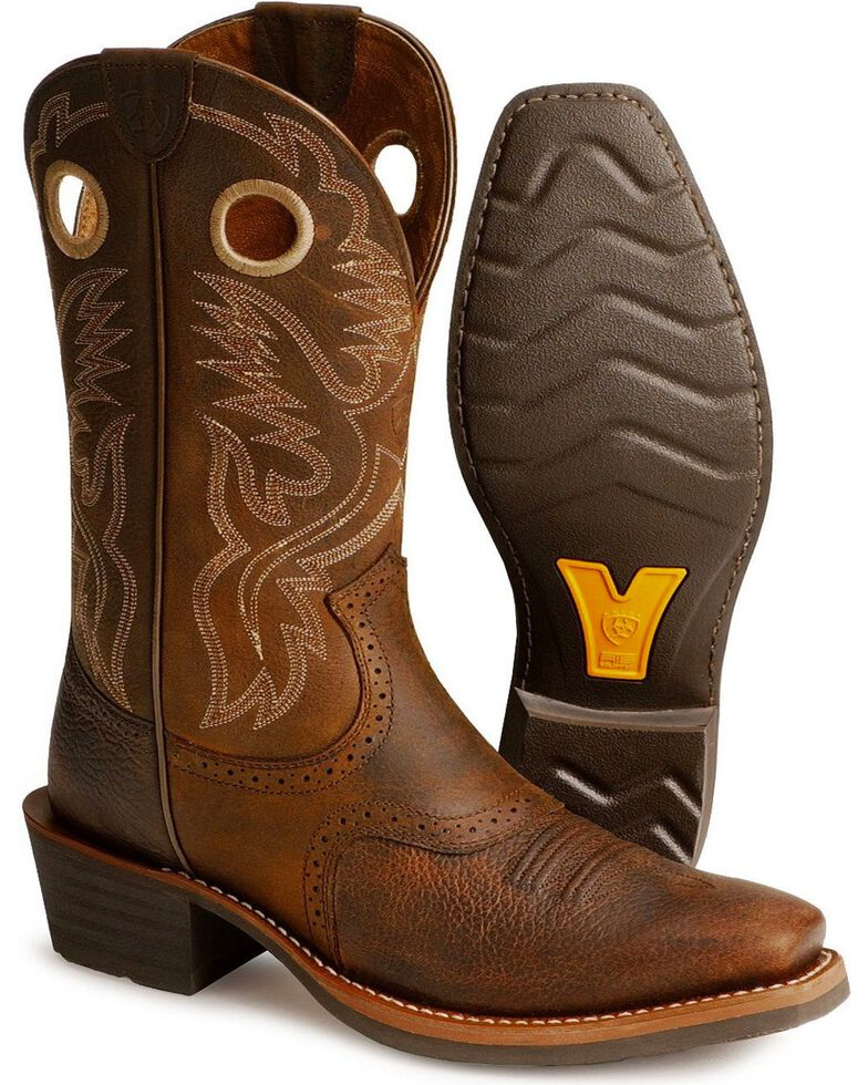 Ariat Men's Heritage Roughstock Western Boots - Narrow Square Toe, Brown Oiled Rowdy, hi-res