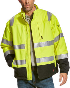 Ariat Men's Yellow FR HI-VIS Waterproof Jacket , Yellow, hi-res