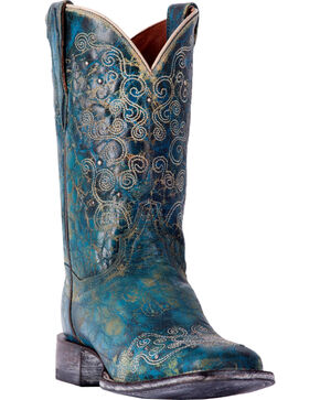 Dan Post Women's Swirlz Turquoise Cowgirl Boots - Square Toe, Turquoise, hi-res