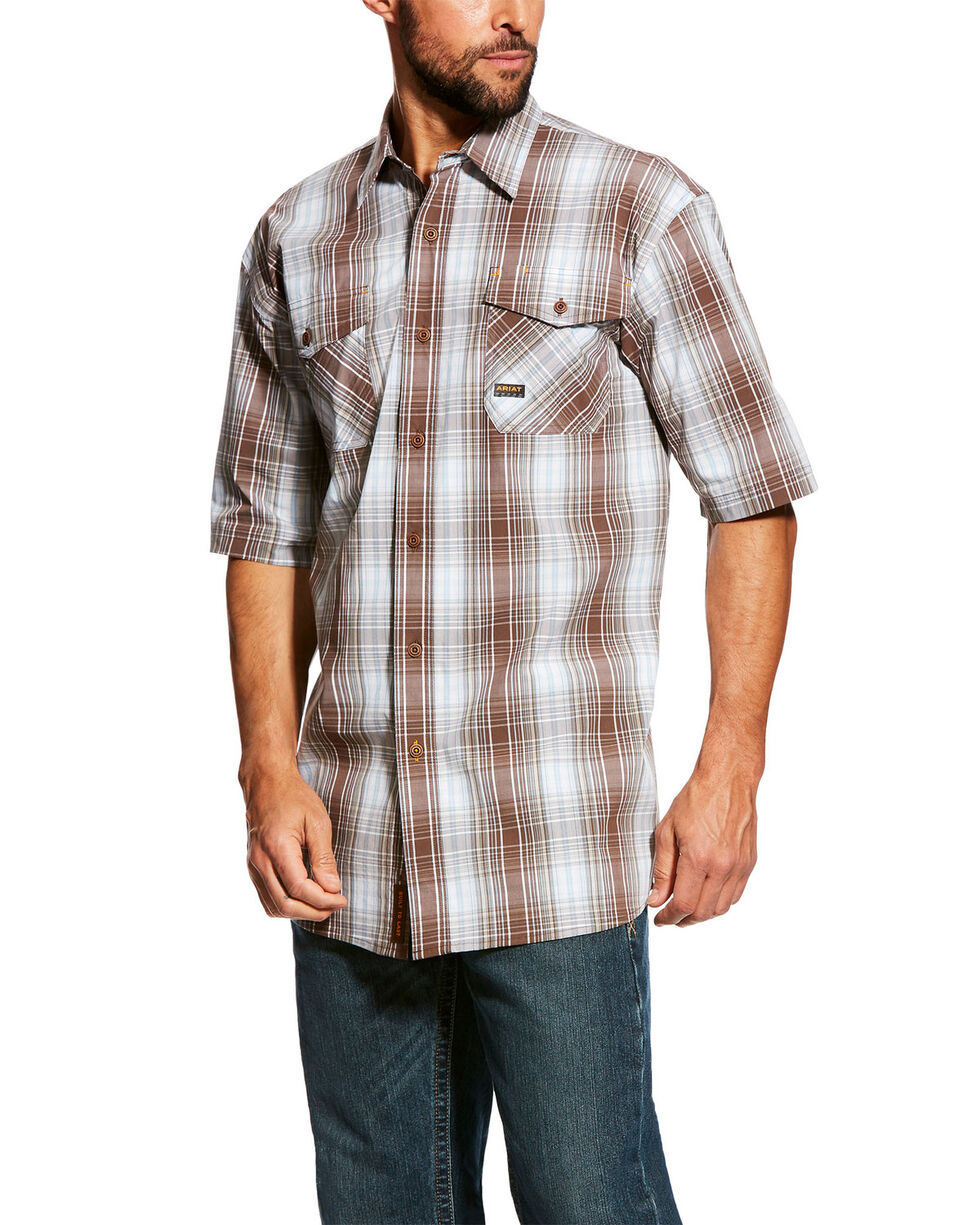 Ariat Men's Rebar Made Tough Plaid Short Sleeve Work Shirt - Tall , Grey, hi-res