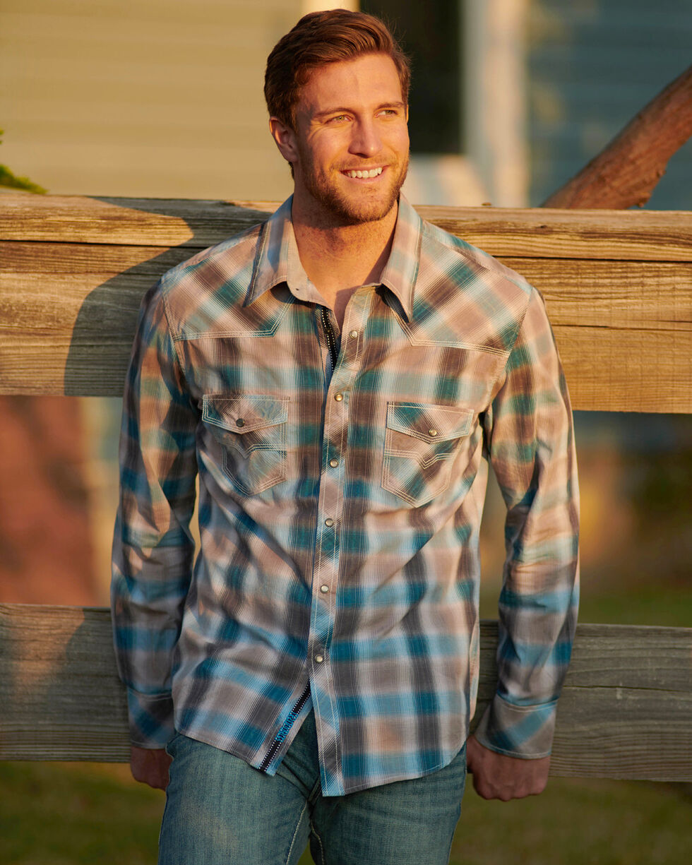Rock & Roll Cowboy Men's Tan Crinkle Washed Plaid Long Sleeve Shirt, Tan, hi-res
