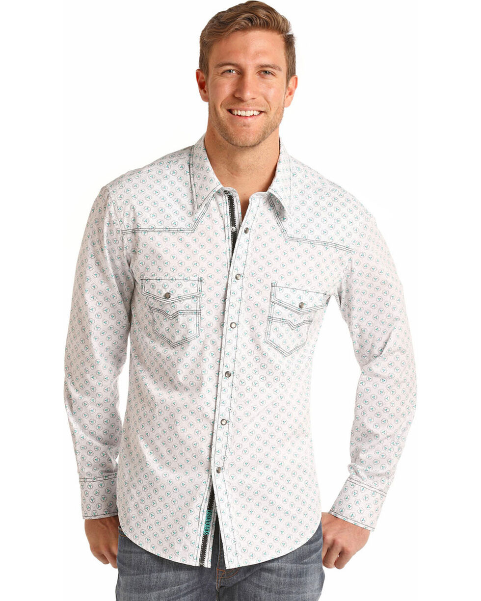 Rock Roll Cowboy Men S Brushed Bleach Wash Print Long Sleeve Shirt