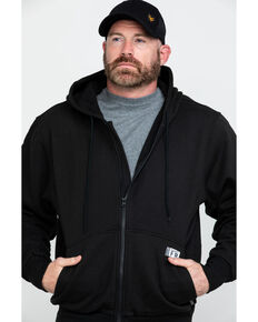 Wolverine Men's Black Logo Sleeve Zip-Up Work Hoodie , Black, hi-res