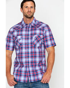 Wrangler Retro Men's Med Plaid Short Sleeve Western Shirt , Red, hi-res