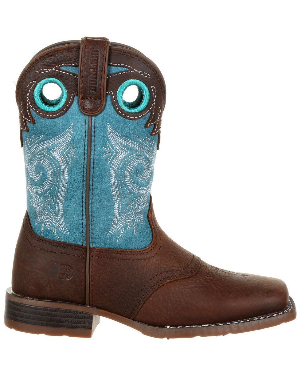 Durango Boys' Lil' Mustang Western Saddle Boots - Square Toe, Brown, hi-res