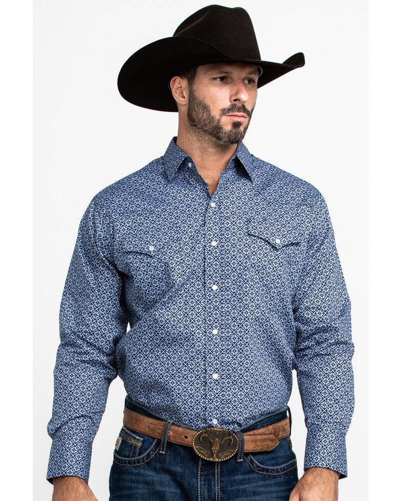Ely Cattleman Men's Assorted Multi Geo Print Snap Long Sleeve Western Shirt , Multi, hi-res