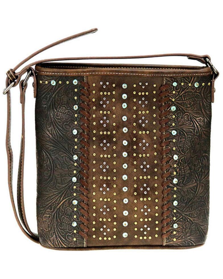 Montana West Women's Metallic Tooled Crossbody Bag, Coffee, hi-res