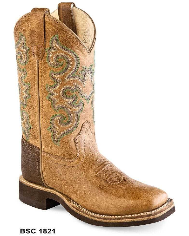 Old West Boys' Standard Western Boots - Wide Square Toe, Brown, hi-res