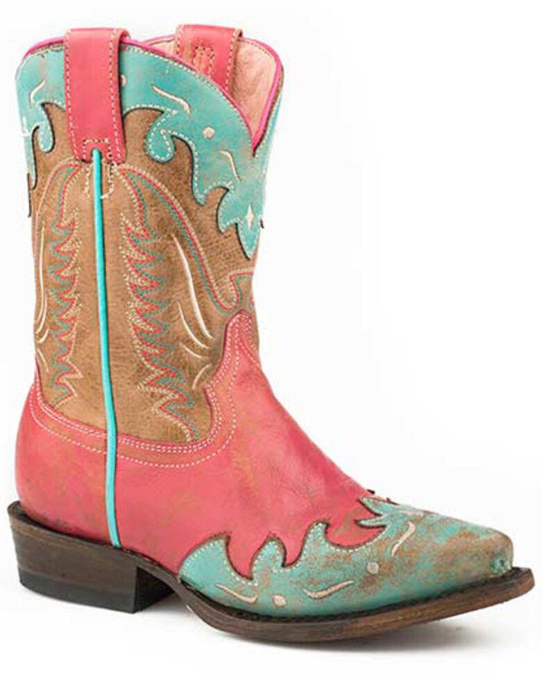 Roper Girls' Turquoise Wingtip Western Boots - Snip Toe, Pink, hi-res