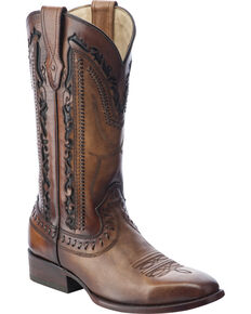 Corral Men's Laser Cut Whip-Stitch Western Boots, Tan, hi-res
