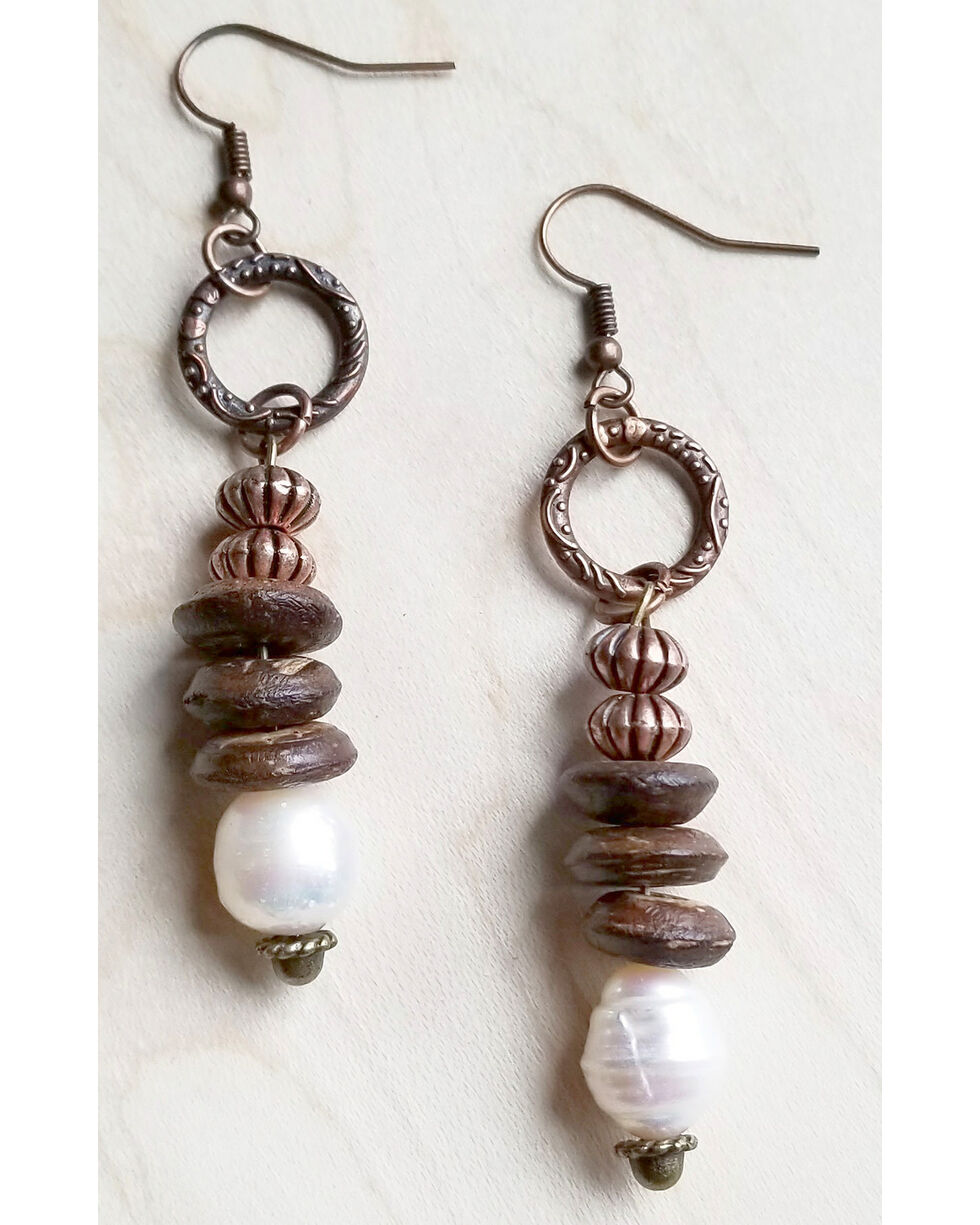 Jewelry Junkie Women's Freshwater Pearl and Wood Earrings, Brown, hi-res
