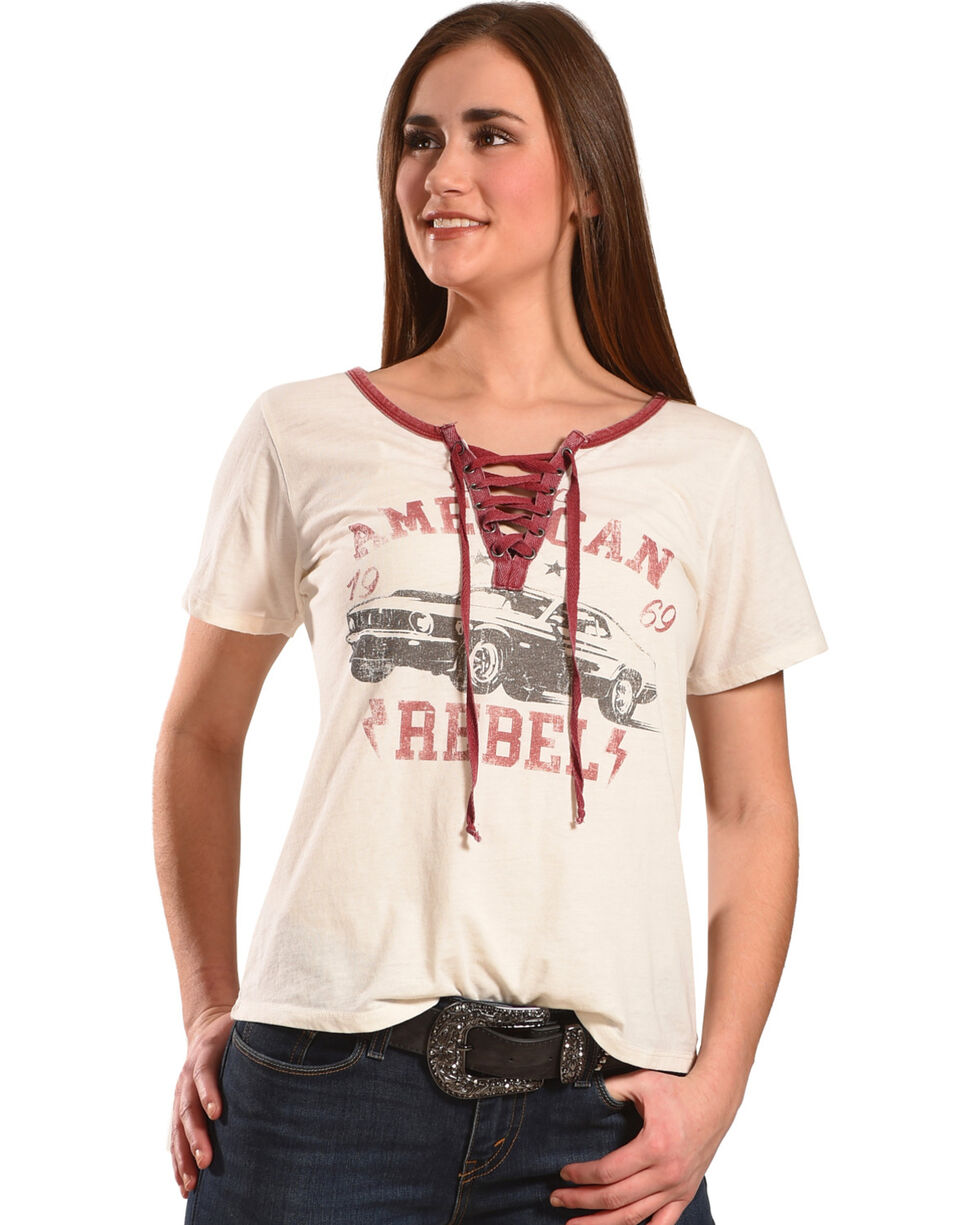 Others Follow Women's Ivory American Rebel Lace Up Top , Ivory, hi-res