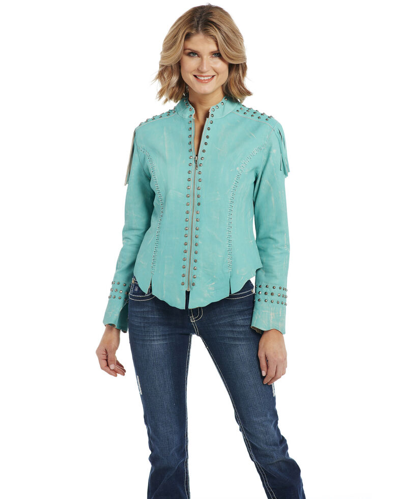 Cripple Creek Women's Vintage Turquoise Military Jacket, , hi-res