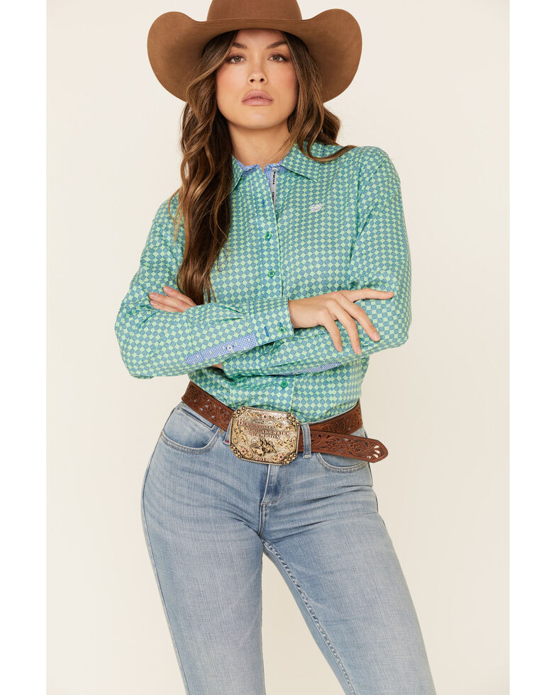 Cinch Women's Green Tile Print Button Front Long Sleeve Western Shirt , Green, hi-res