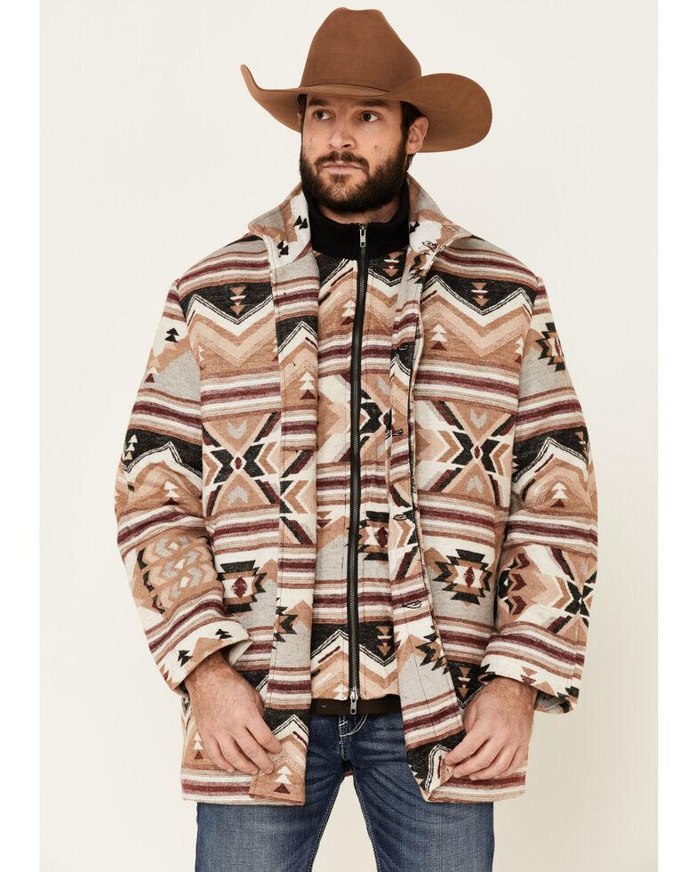 Cripple Creek Men's Beige Navajo Print Blanket Coat , Beige/khaki, hi-res