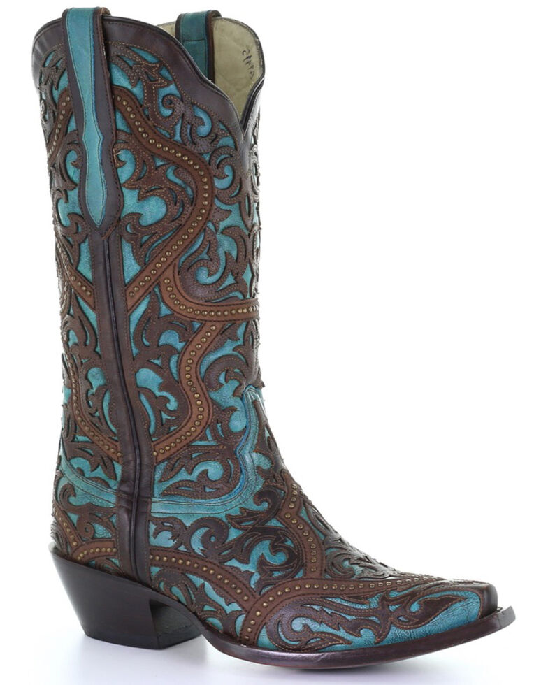 Corral Women's Turquoise With Borwn Laser Overlay Western Boots - Snip Toe, Brown, hi-res