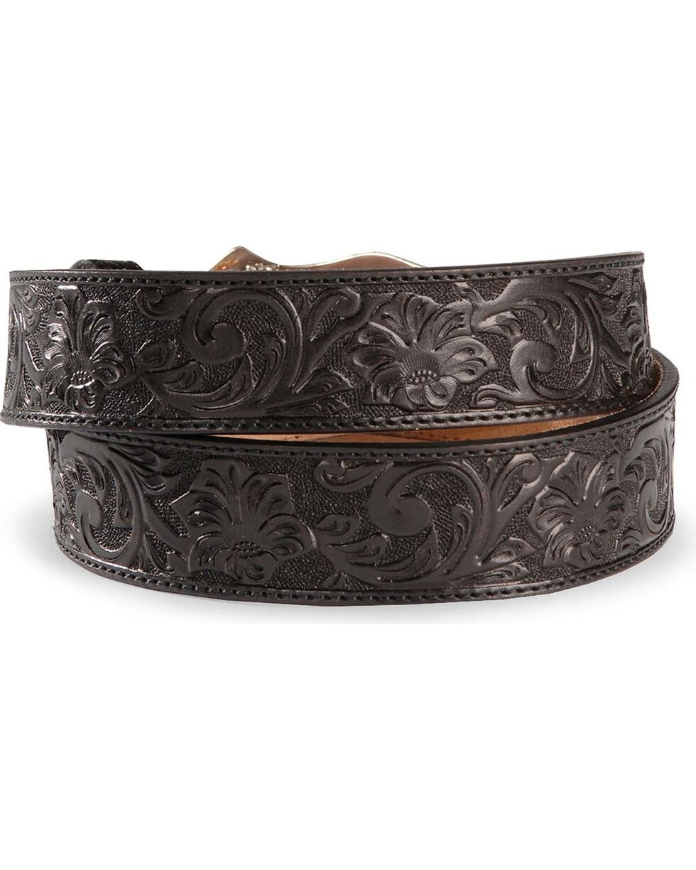 Justin Men's Floral Tooled Leather Belt, Black, hi-res