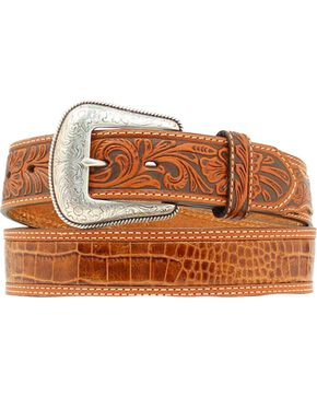Nocona Gator Print Tooled Billet Western Belt, Tan, hi-res