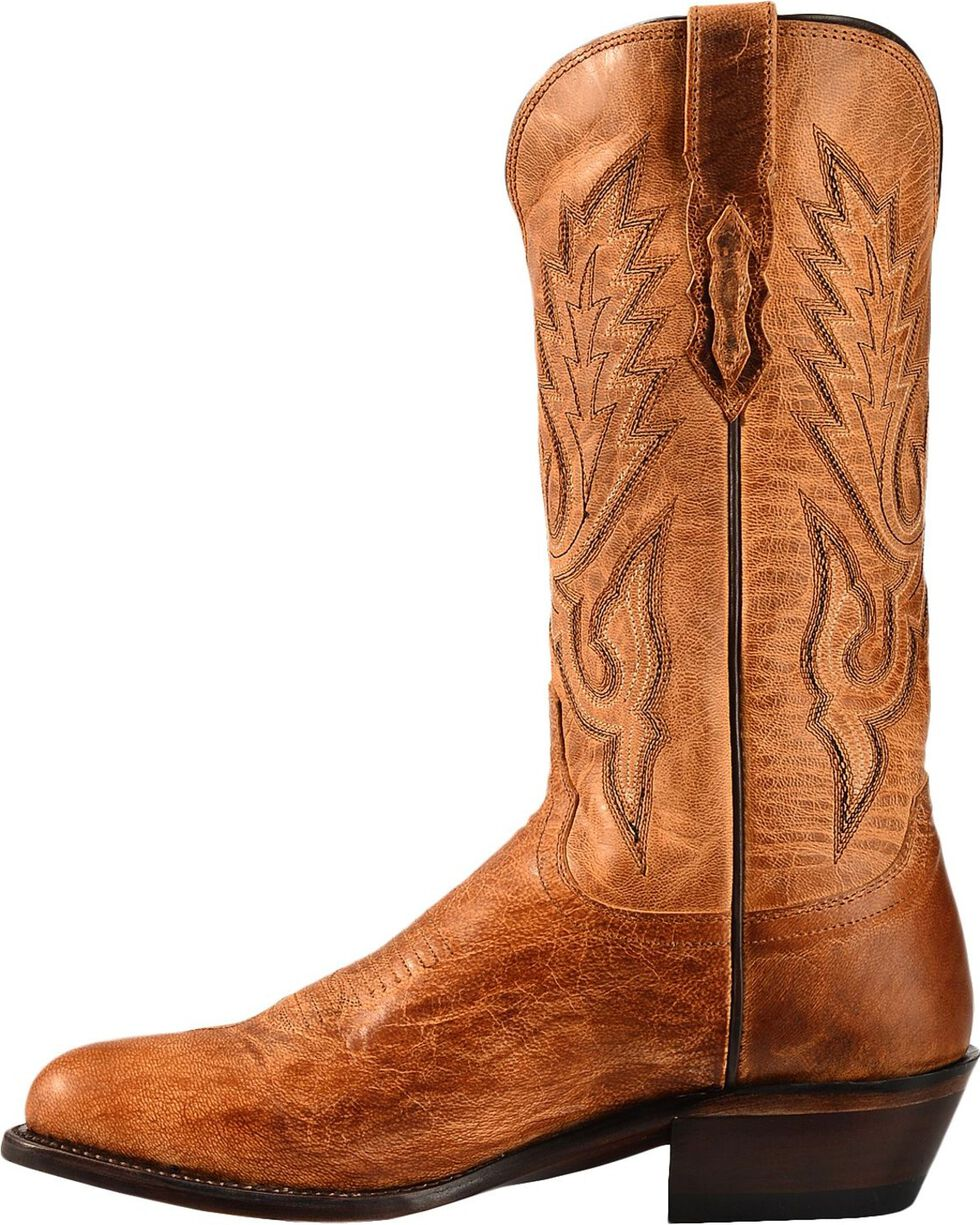 Lucchese Men's Lewis Roper Toe Mandras Goat Western Boots, Tan, hi-res