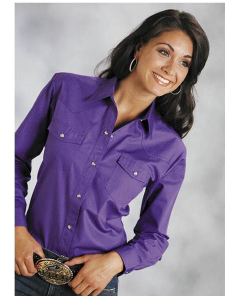 Roper Women's Purple Solid Snap Long Sleeve Shirt, Purple, hi-res