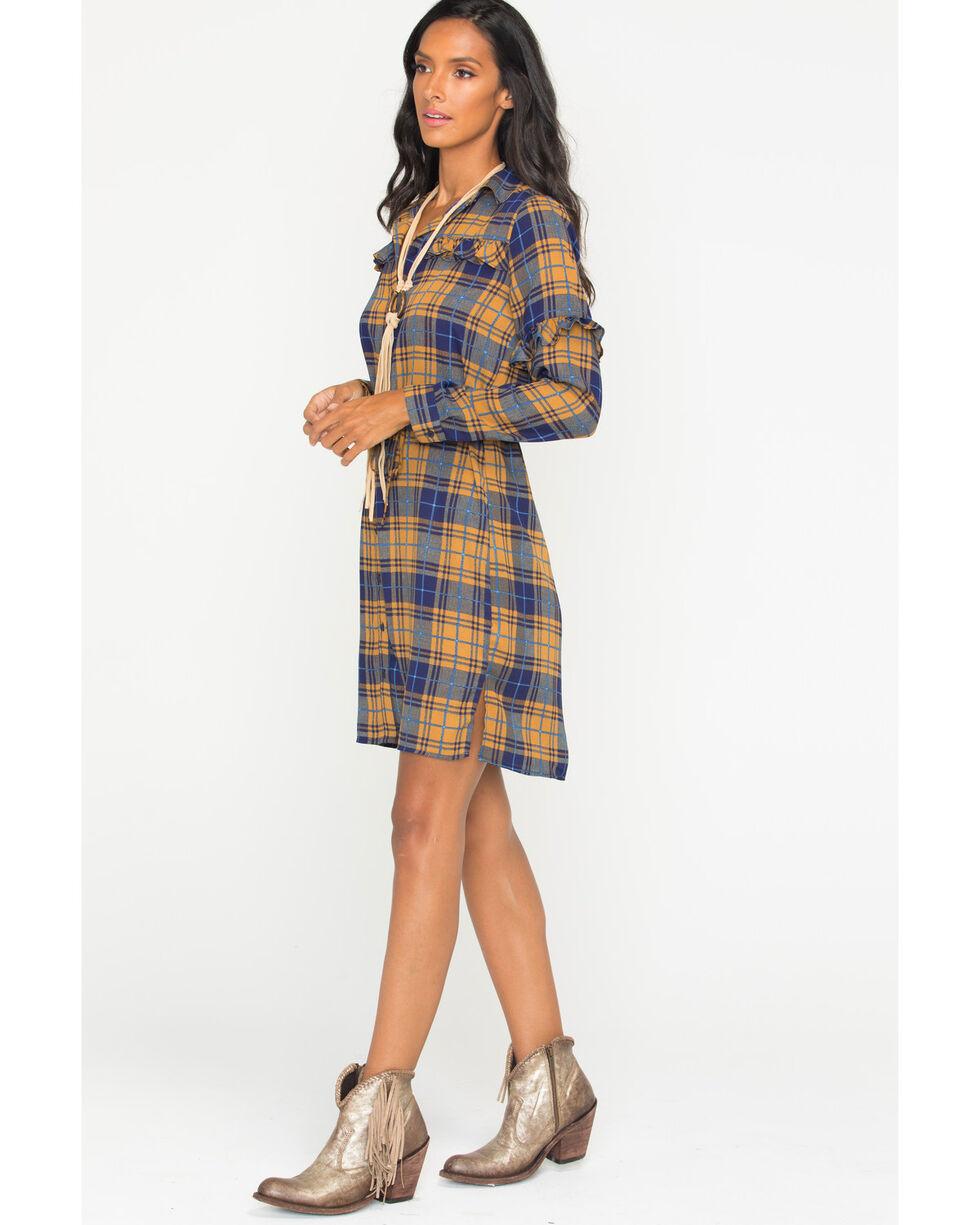 Wrangler Women's Plaid Ruffle Long Sleeve Shirt Dress, Multi, hi-res