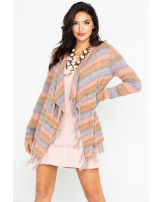 Shyanne Women's Striped Fringe Cardigan, Olive, hi-res