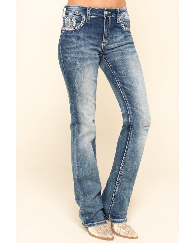 Grace in LA Women's Medium Chevron Aztec Bootcut Jeans , Blue, hi-res