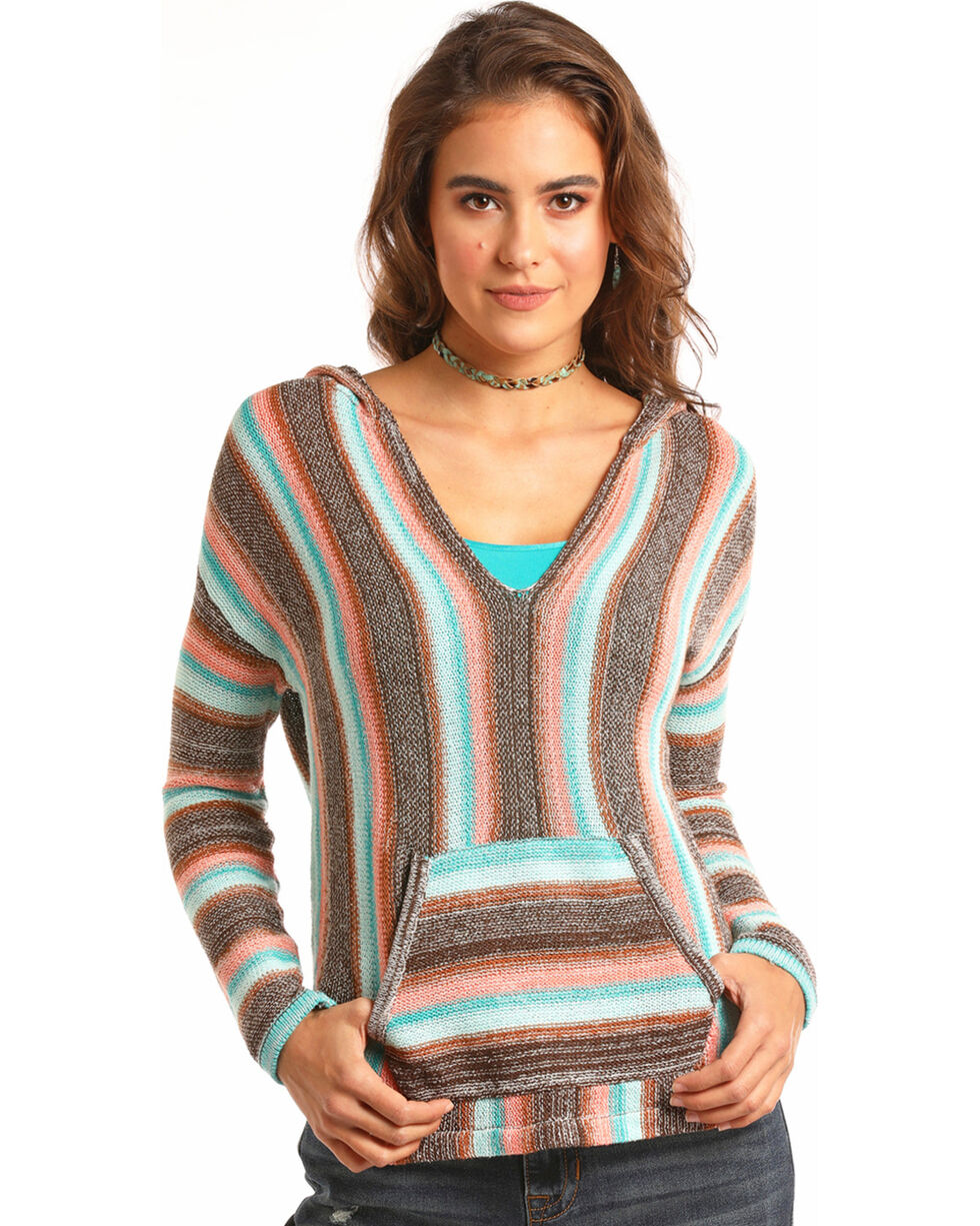 Rock & Roll Cowgirl Women's Brown Striped Knitted Pullover , Brown, hi-res