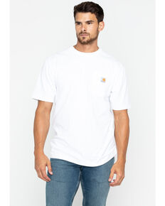 Carhartt Men's Solid Pocket Short Sleeve Work T-Shirt, White, hi-res