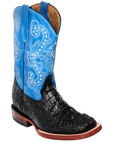 Ferrini Girls' Crocodile Print Cowgirl Boots - Square Toe, Black Ink, hi-res
