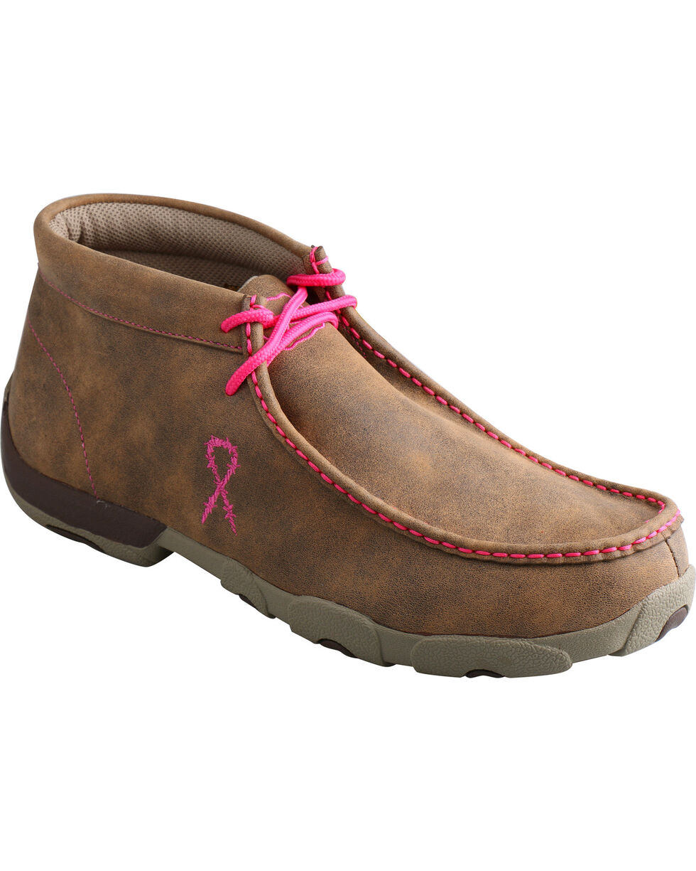 Twisted X Men's Pink Ribbon Lace-Up Moc Toe Driving Shoes, Tan, hi-res