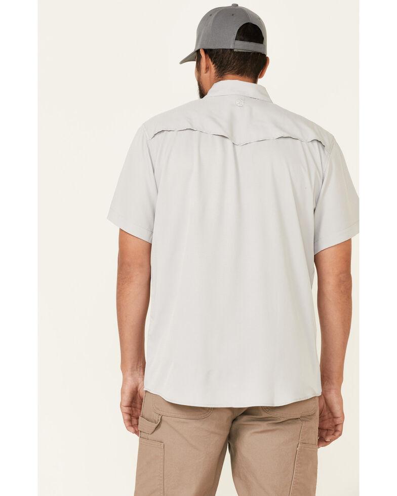 HOOey Men's Solid Light Grey Habitat Sol Short Sleeve Snap Western Shirt , Grey, hi-res