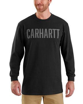 Carhartt Men's Workwear Block Logo Long Sleeve T-Shirt - Big, Black, hi-res