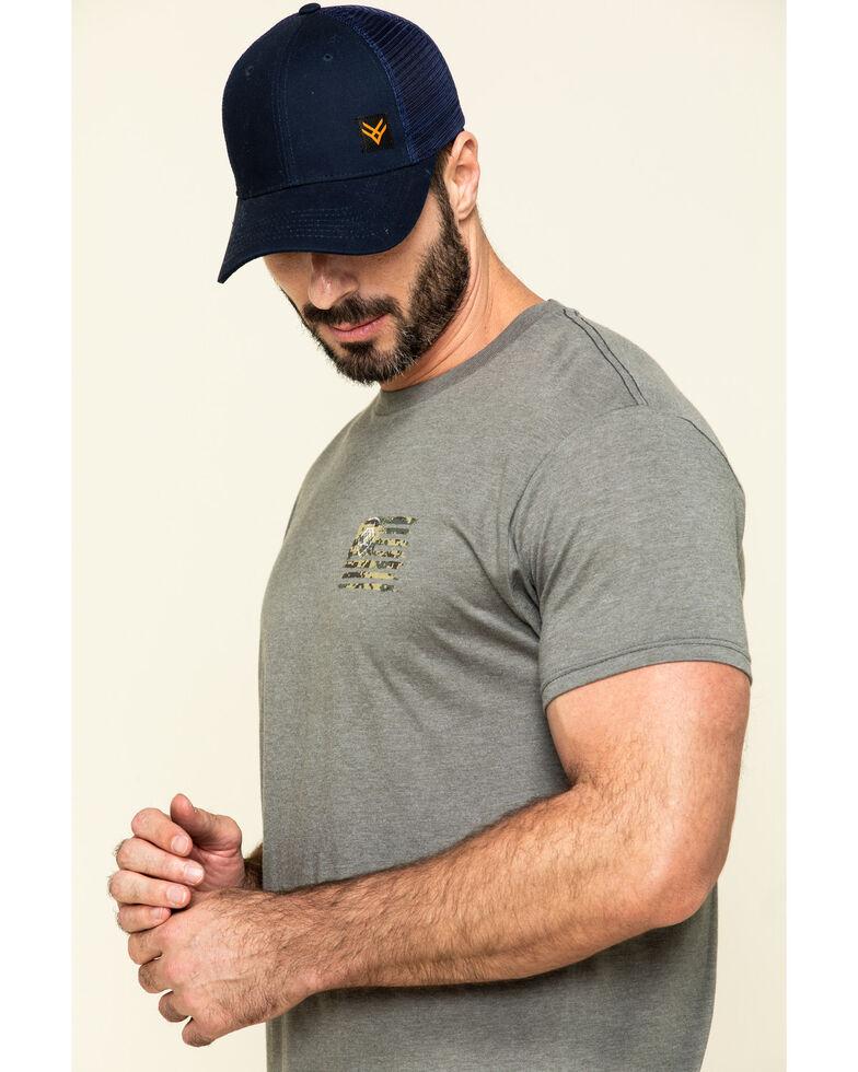 Ariat Men's Grey Vertical Camo Flag Graphic Short Sleeve T-Shirt , Grey, hi-res