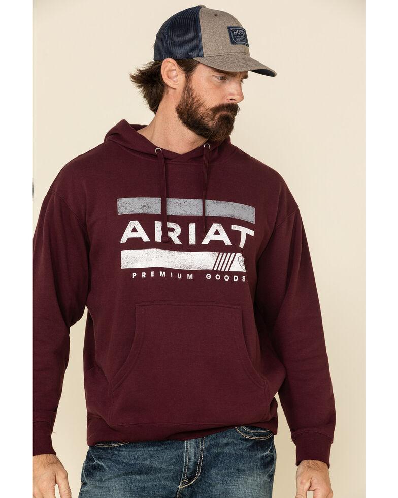 Ariat Men's Bar Stripe Graphic Fleece Hooded Sweatshirt , Burgundy, hi-res