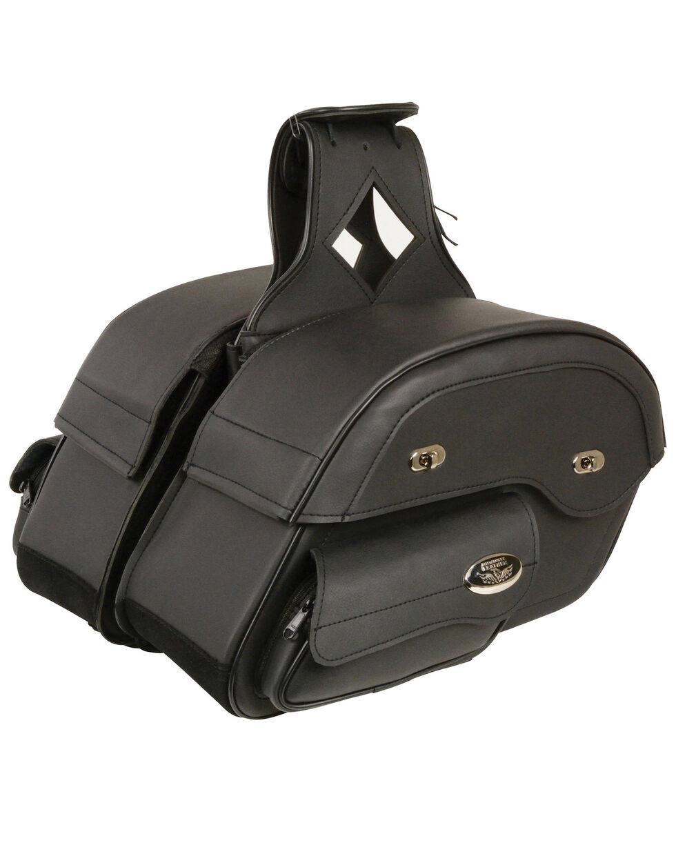Milwaukee Leather Black Large Cruiser Slant Pouch Saddle Bag , Black, hi-res