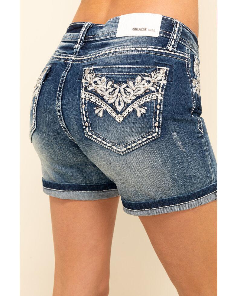 Grace in LA Women's Medium Lattice Rolled Hem Shorts, Blue, hi-res