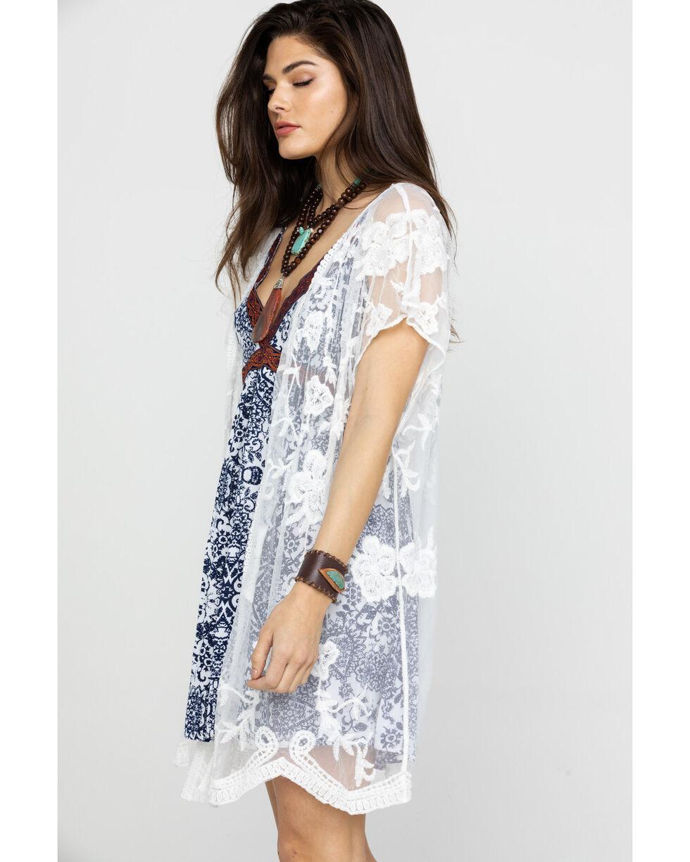 Shyanne Women's White Lace Scarf , White, hi-res