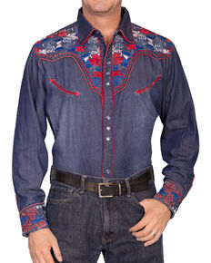 Scully Men's Vibrant Floral Embroidered Retro Long Sleeve Western Shirt, Indigo, hi-res