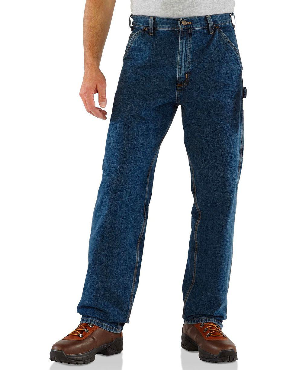 Carhartt Washed Denim Original Fit Work Dungaree Jeans, Dark Denim, hi-res