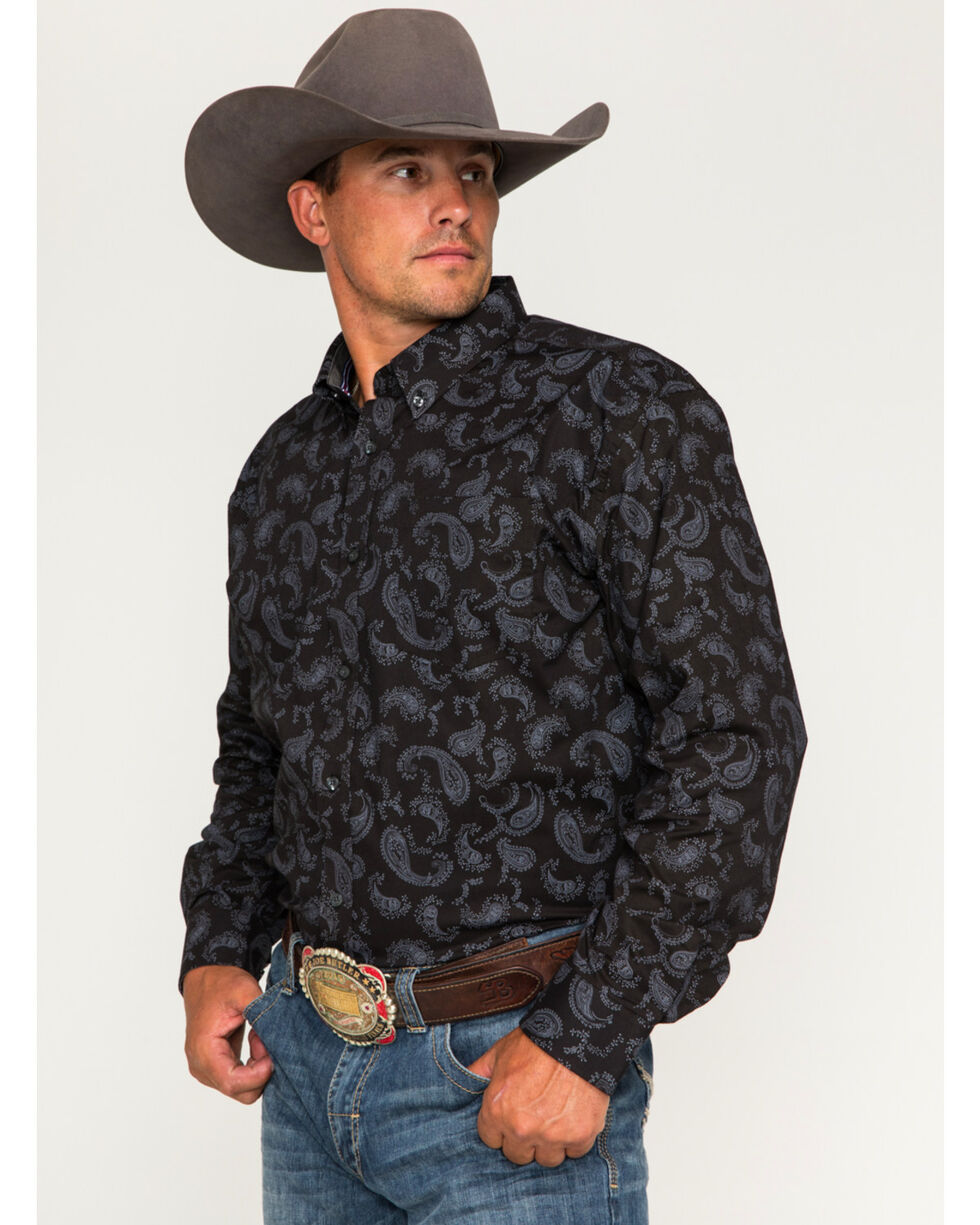 Cody James Men's Hackamore Paisley Long Sleeve Button Down Shirt, Black, hi-res