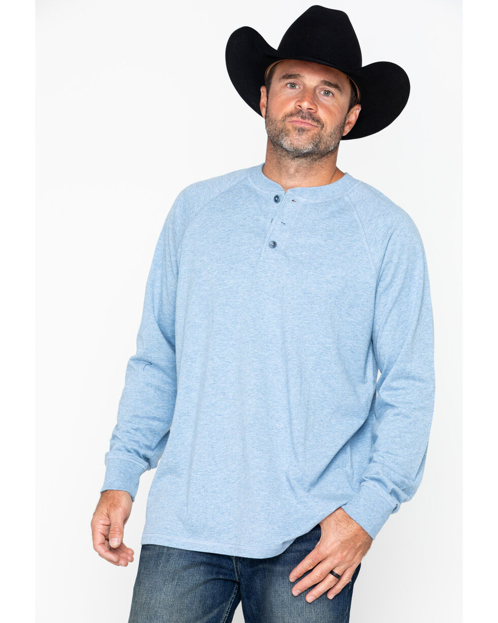 Cody James Men's Blue Henley Knit Long Sleeve Shirt, Blue, hi-res