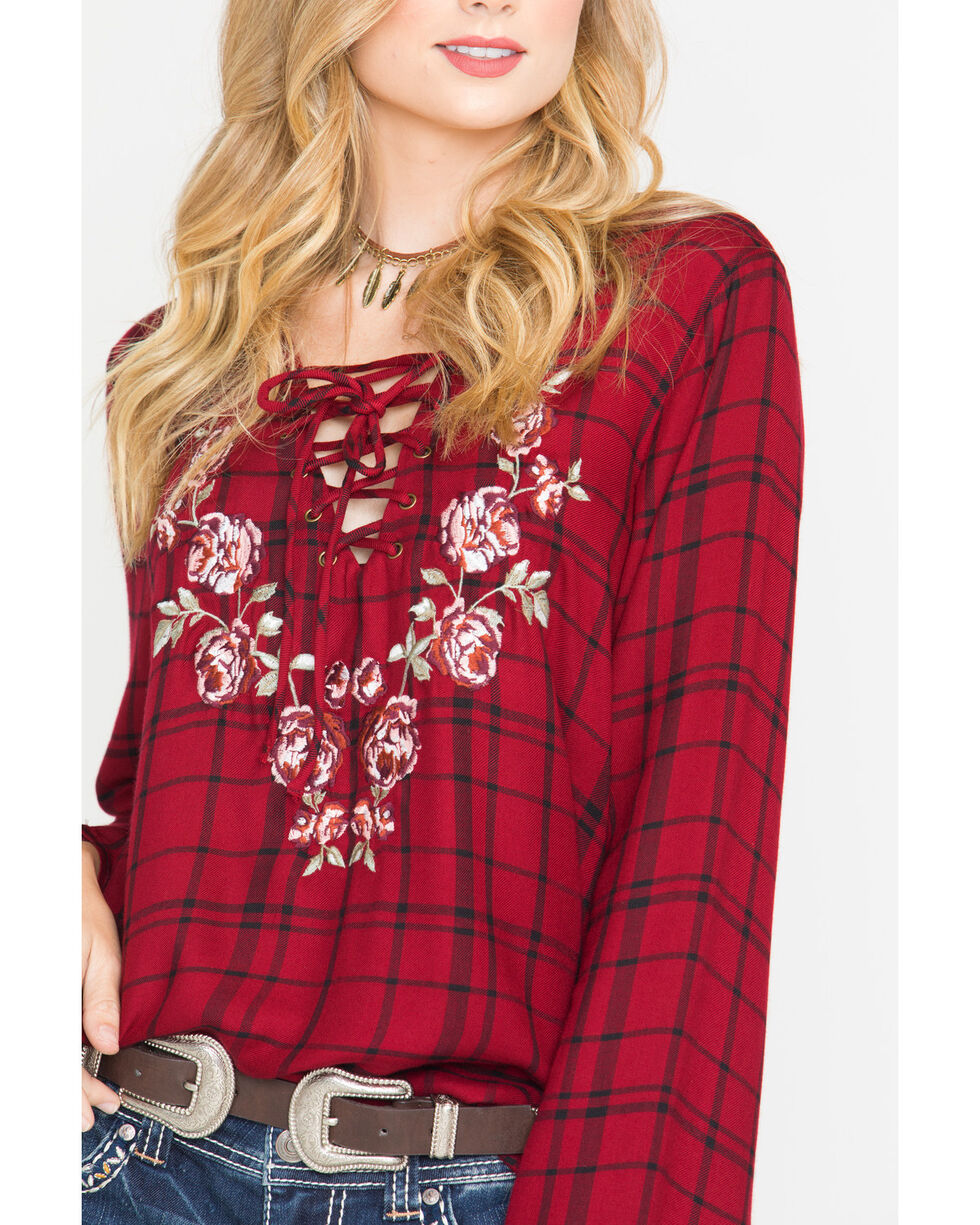Shyanne® Women's Plaid Lace-Up Long Sleeve Shirt, Dark Red, hi-res