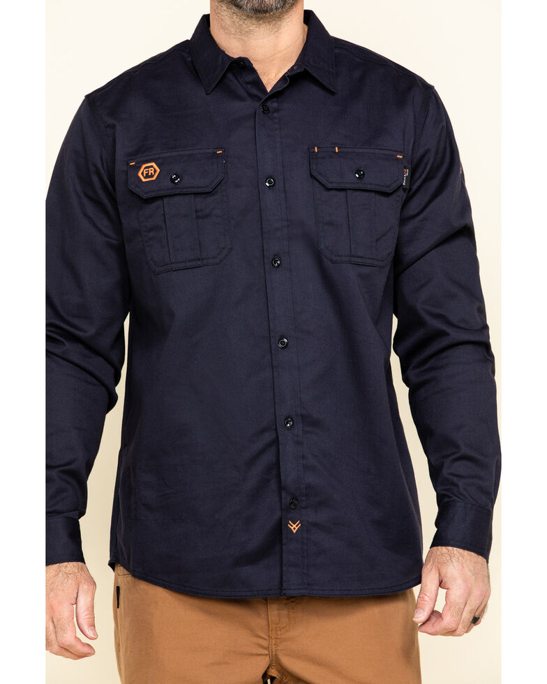Hawx Men's Navy FR Long Sleeve Woven Work Shirt - Tall , Navy, hi-res