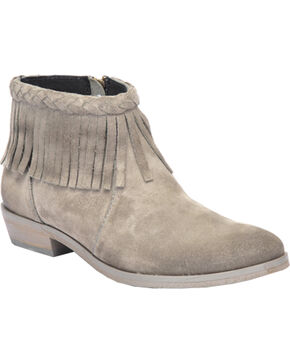 Circle G Women's Suede Braided Fringe Fashion Booties, Grey, hi-res
