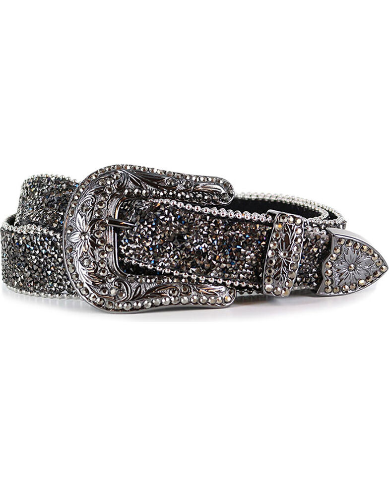 Shyanne® Women's Crystal Studded Belt, Black, hi-res